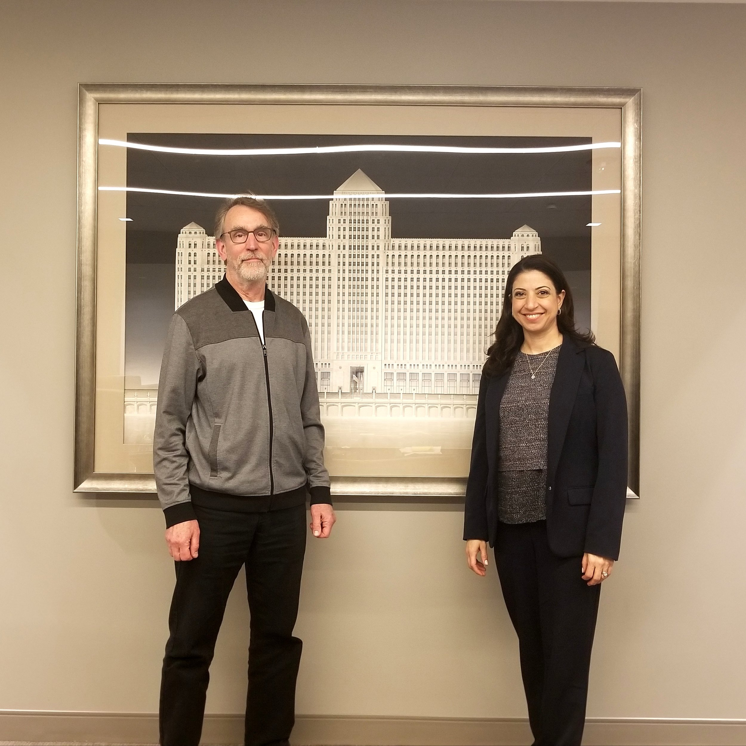 Media designer John Boesche and Art On theMart executive director Cynthia Noble