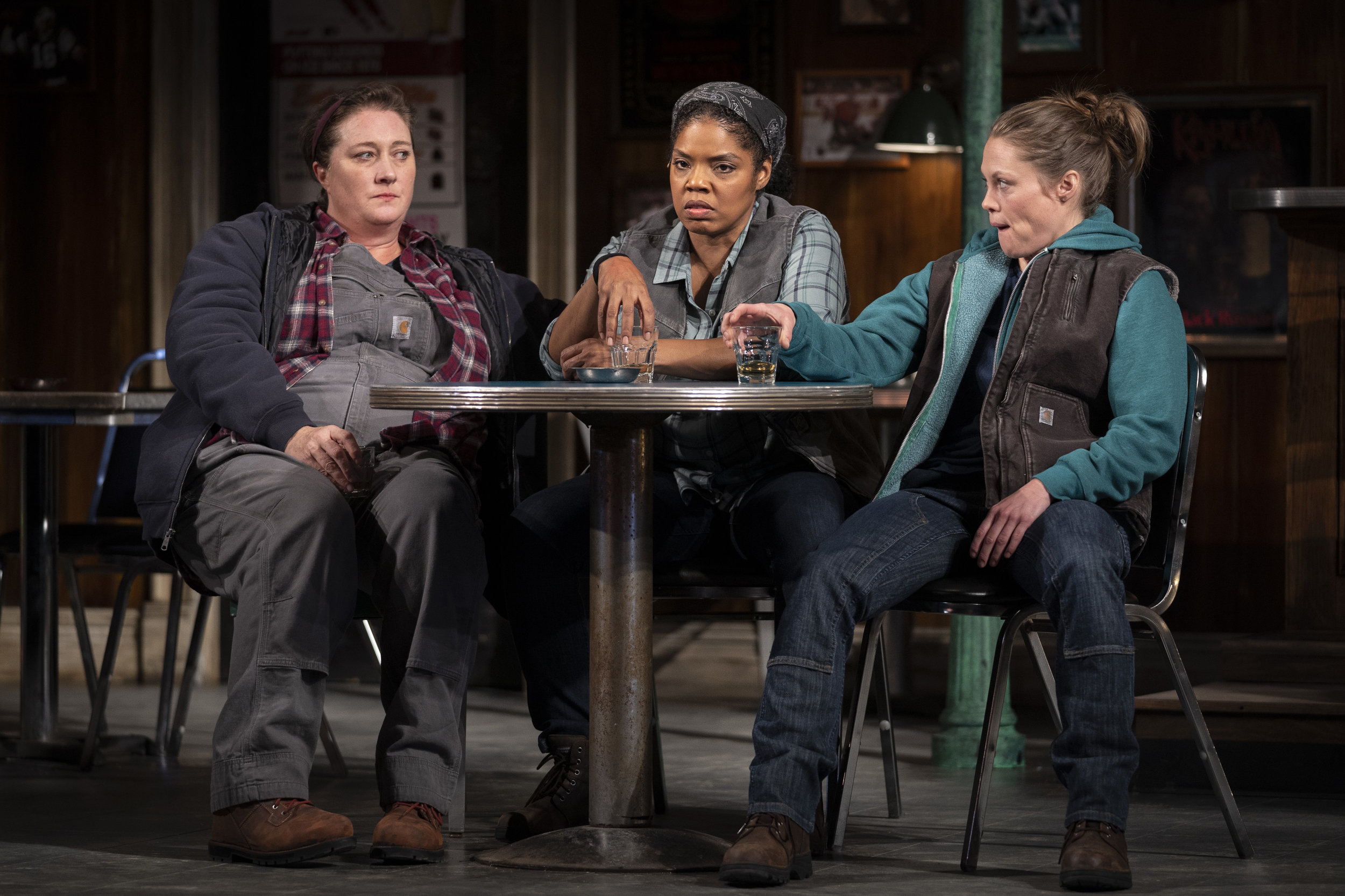 Kirsten Fitzgerald  (Tracey),  Tyla Abercrumbie  (Cynthia) and  Chaon Cross  (Jessie) in   Goodman Theatre's production of  SWEAT.  Photo credit Liz Lauren