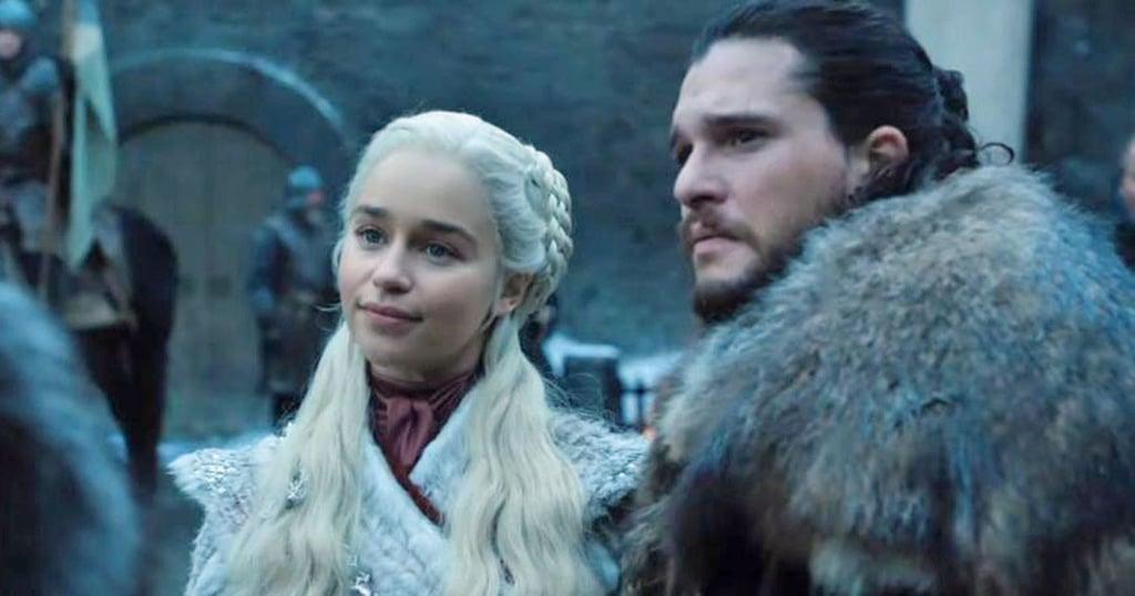 Emilia Clarke as Daenerys Targaryen and Kit Harington as Jon Snow