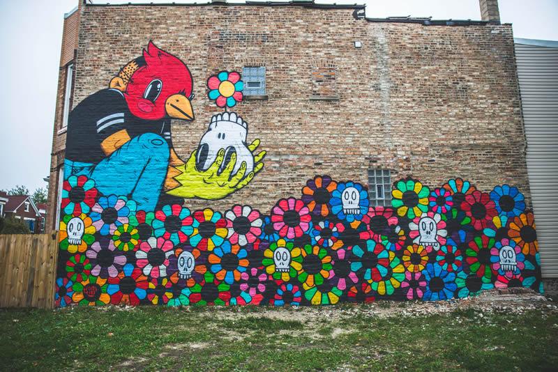 LAS FLORES DE LAS ALMAS MUERTAS, Joseph Sentrock Perez. Located at 2806 S. Ridgeway, Chicago. Photo Credit: Yollocalli