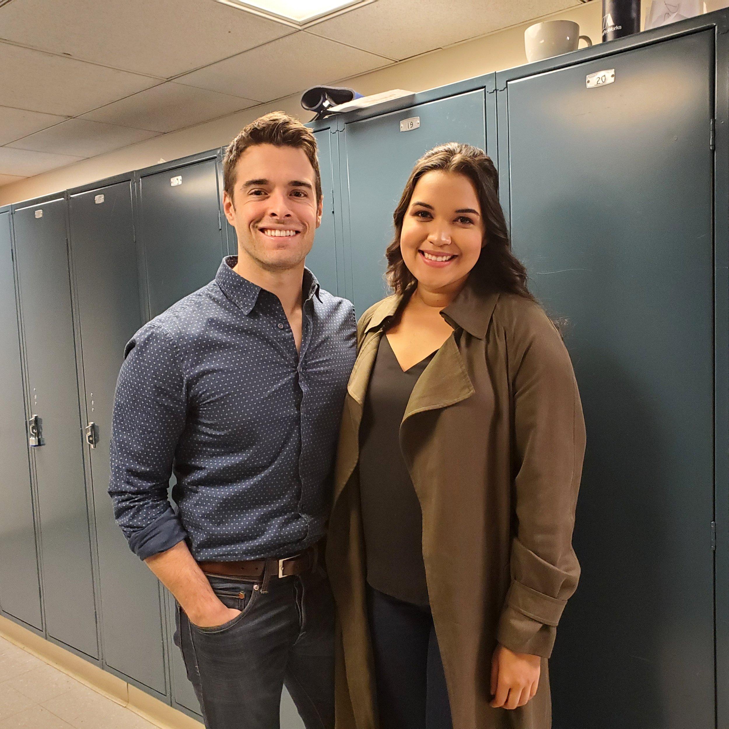 Corey Cott and Mikaela Bennett near a rehearsal room at Lyric Operahouse
