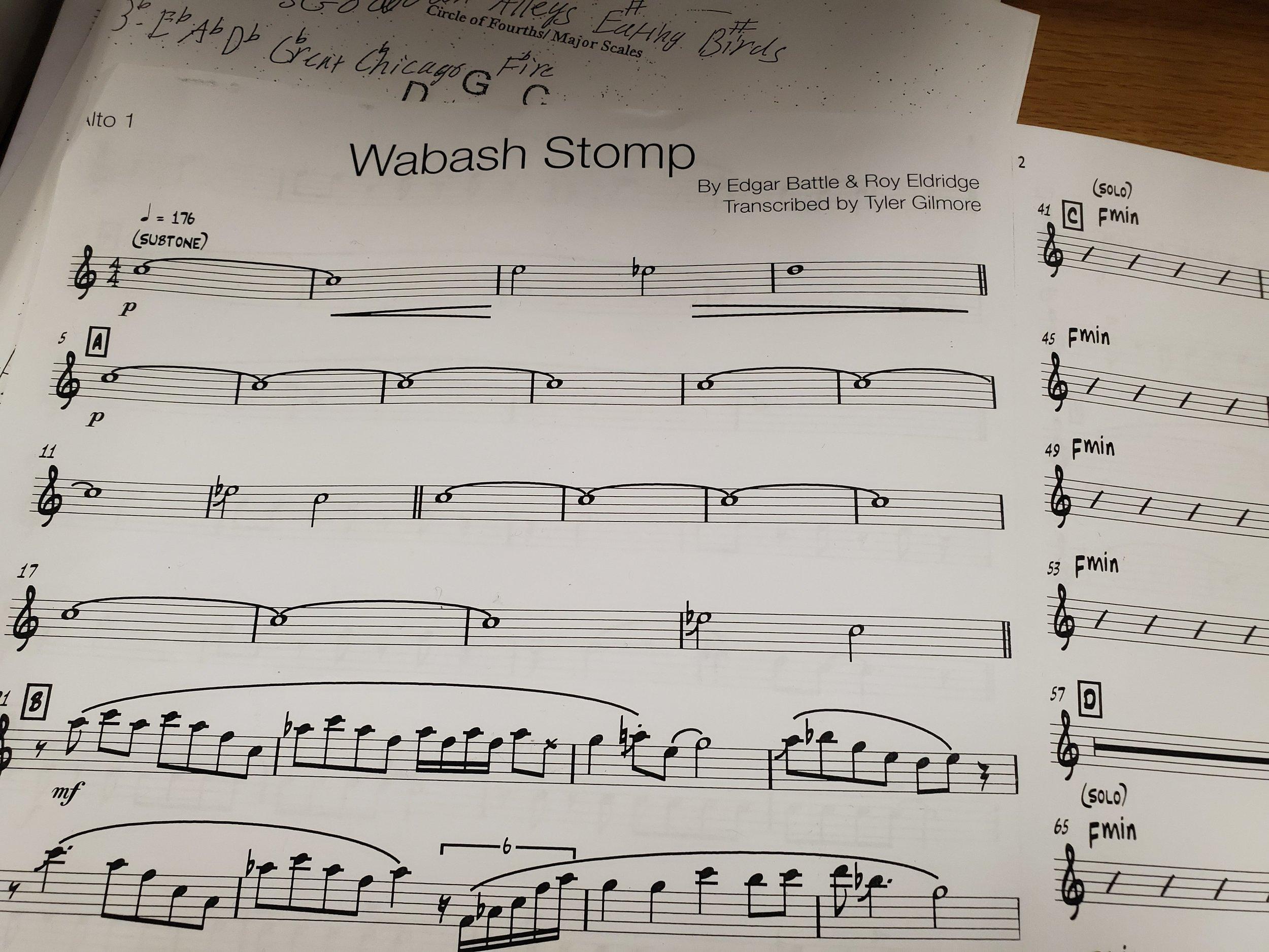 Sheet music for Wabash Stomp