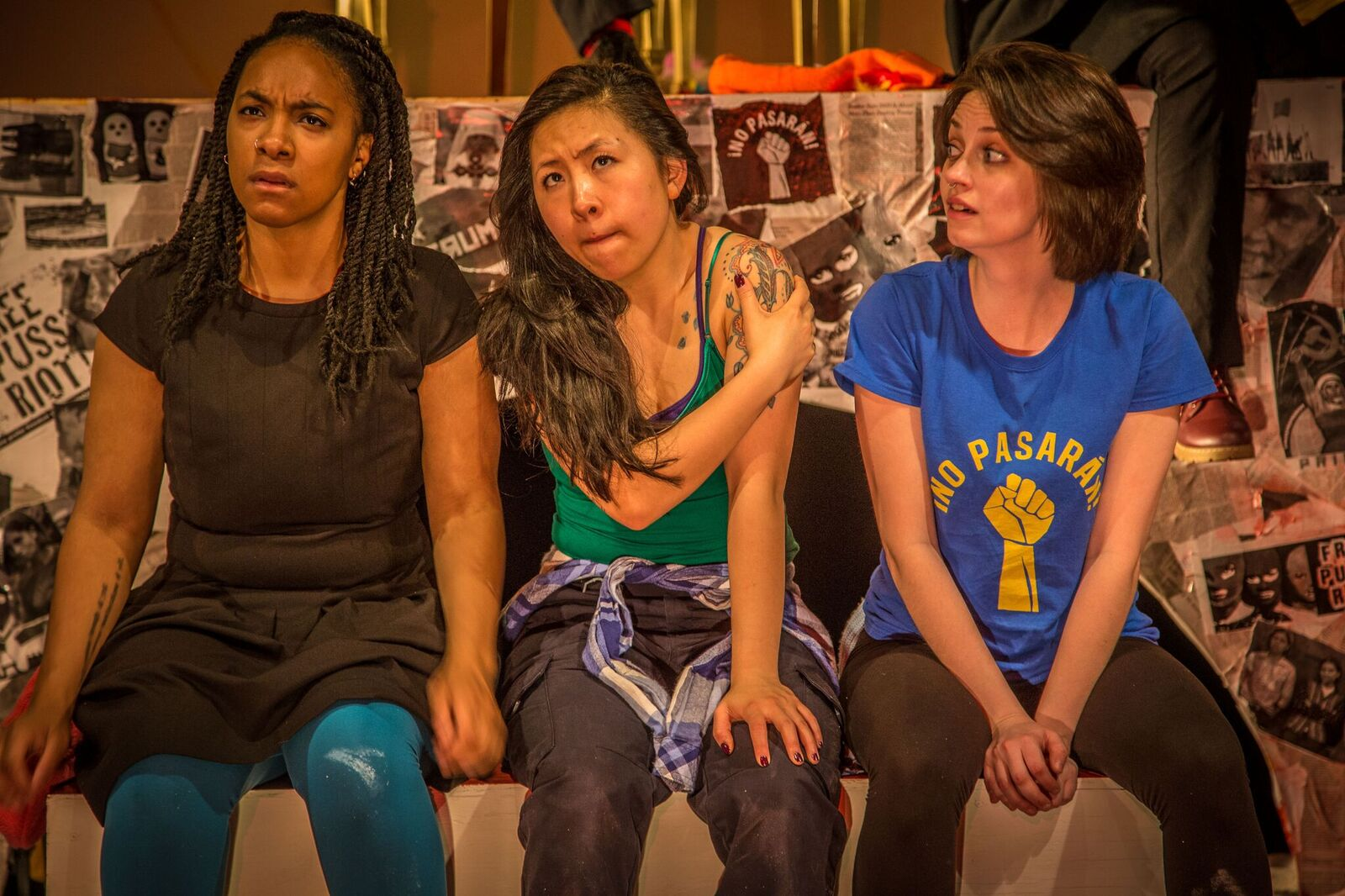(from left to right) Jalyn Greene, Stephanie Shum & Emily Nichelson in Red Tape Theatre's WE ARE PUSSY RIOT (OR EVERYTHING IS P.R.)