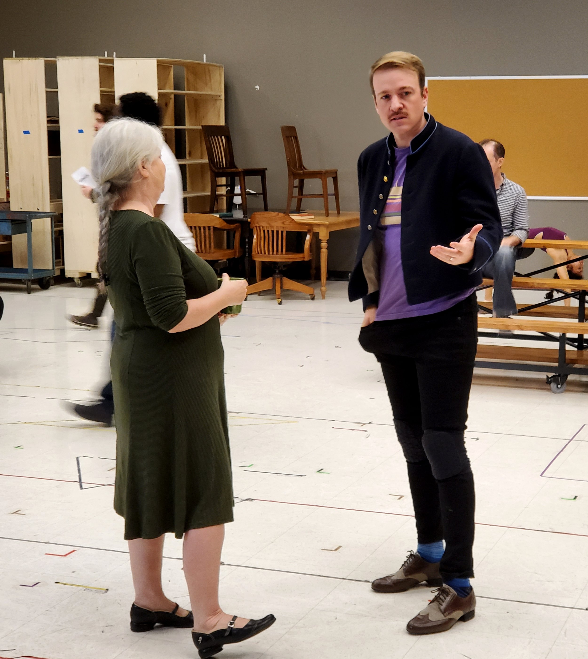 Director Mary Zimmerman talking to actor Geoff Packard during a recent rehearsal of THE MUSIC MAN.