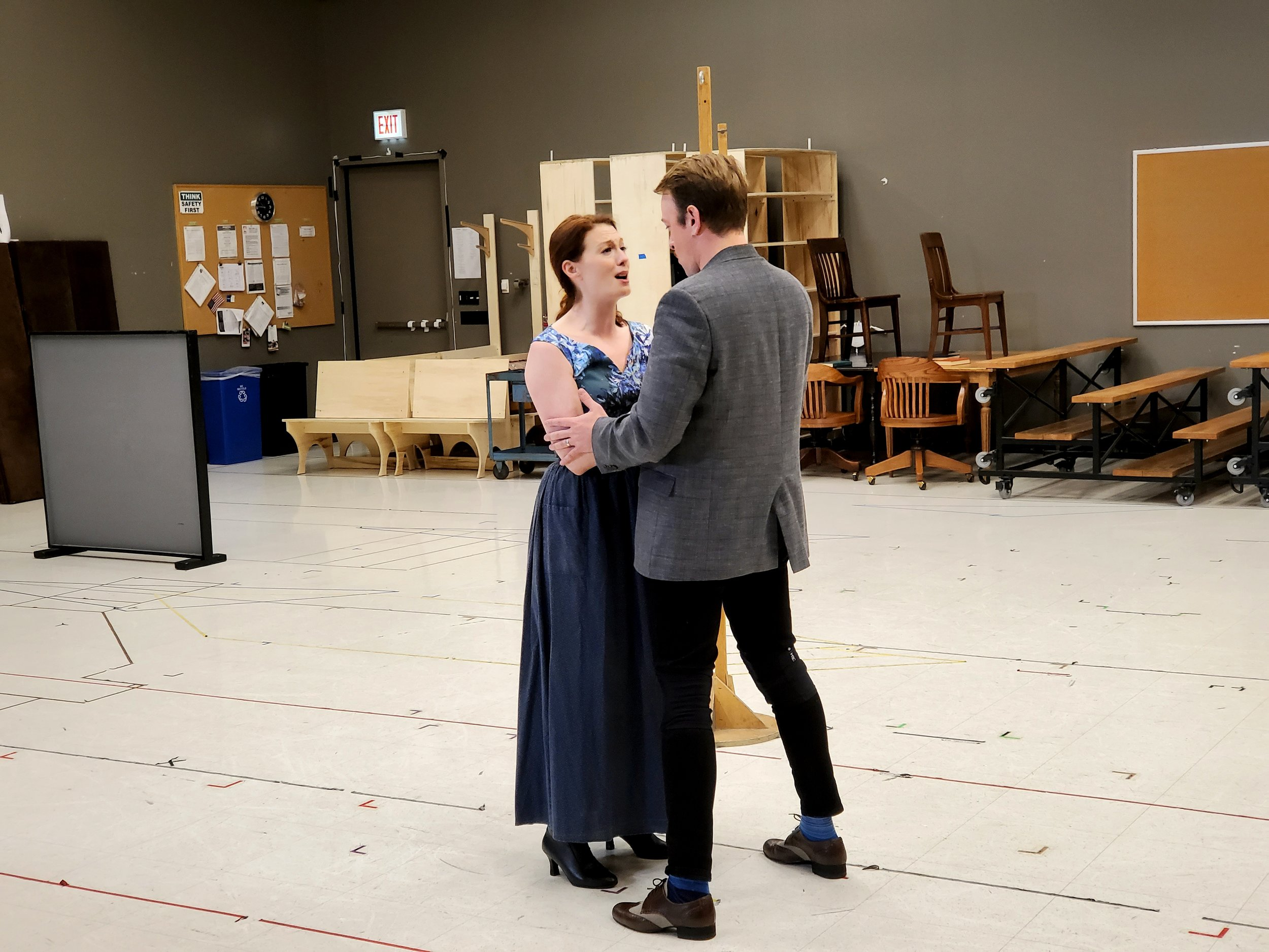 "THE MUSIC MAN leads Monica West and Geoff Packard rehearsing ""TILL THERE WAS YOU"""