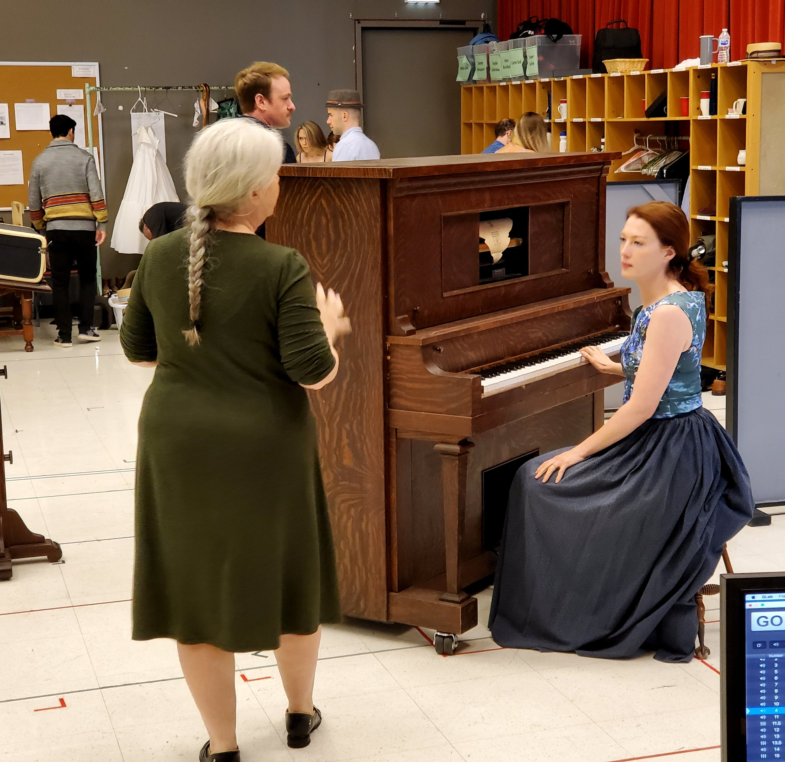 Director Mary Zimmerman talking with Monica West during a recent rehearsal of THE MUSIC MAN.