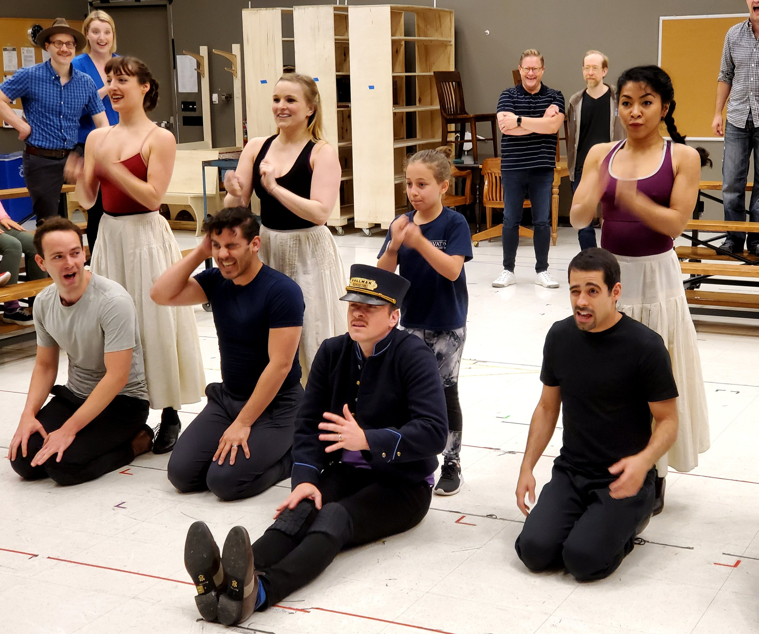 Cast members rehearsing a number from Goodman Theatre's new production of THE MUSIC MAN