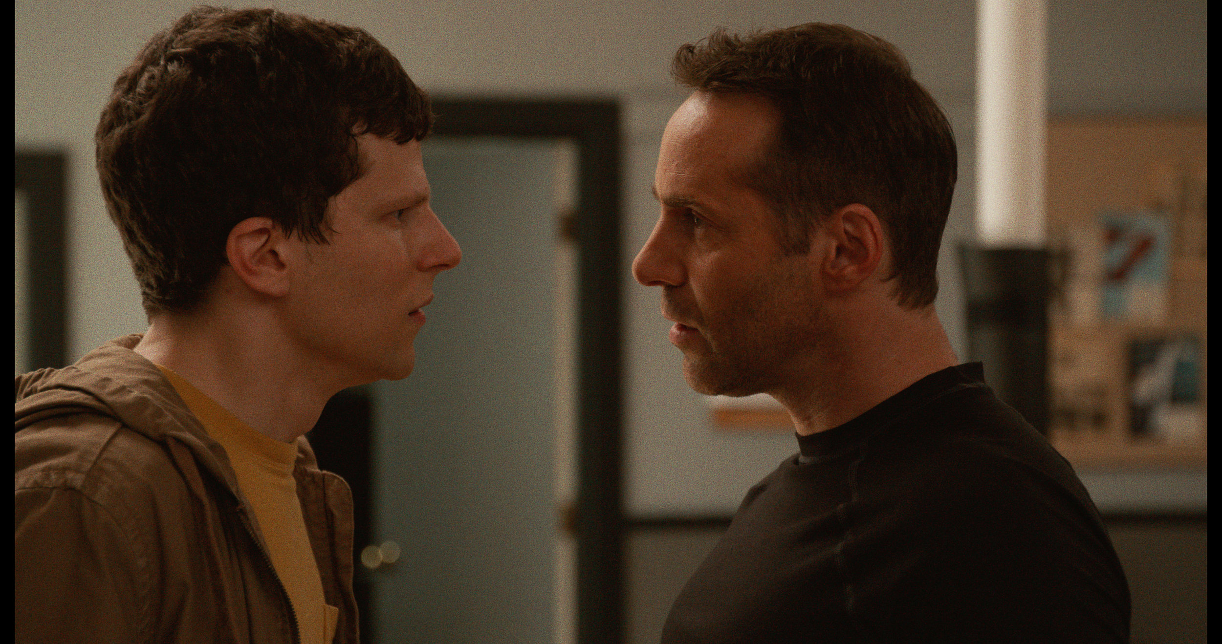 Jesse Eisenberg (left) as 'Casey' and Alessandro Nivola (right) as 'Sensei' in THE ART OF SELF-DEFENSE