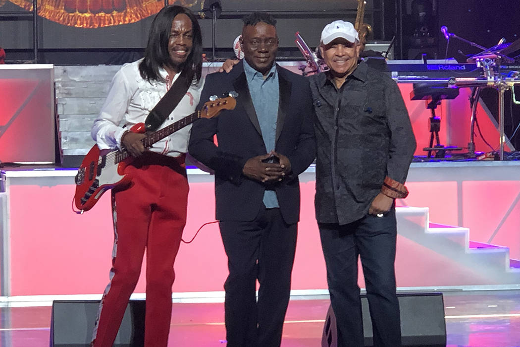 Earth Wind and Fire today. (Left to right) Verdine White, Philip Bailey and Ralph Johnson.