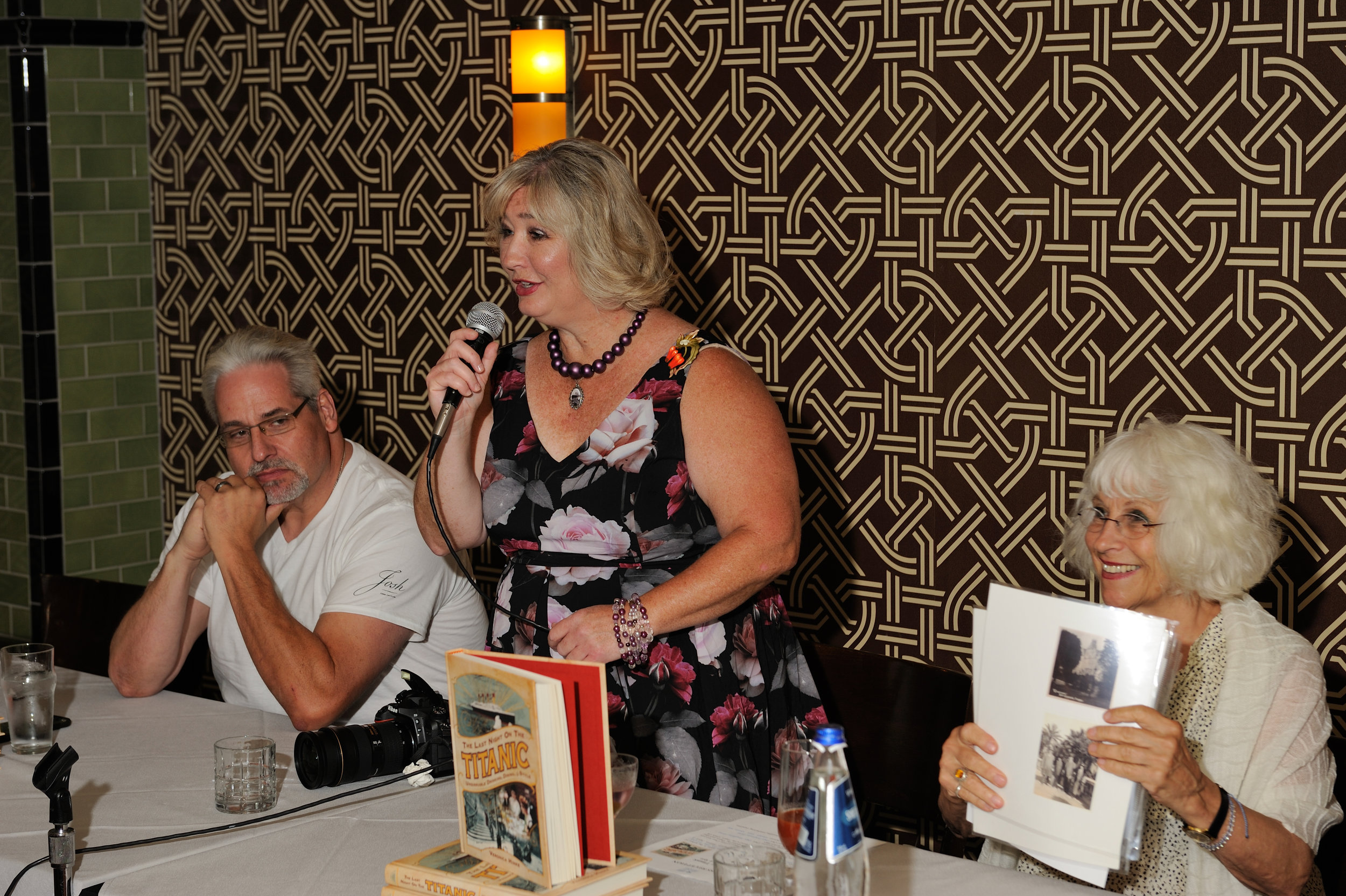 Veronica Hinke (center) at The Gage in Chicago for a book event
