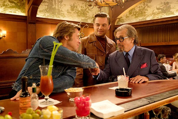 Brad Pitt, Leonardo DiCaprio, and Al Pacino in ONCE UPON A TIME … IN HOLLYWOOD