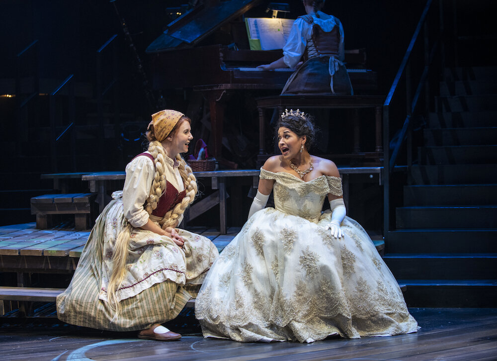 Brianna Borger (left) and Ximone Rose in the Writers Theatre production of INTO THE WOODS. Photo credit: Michael Brosilow