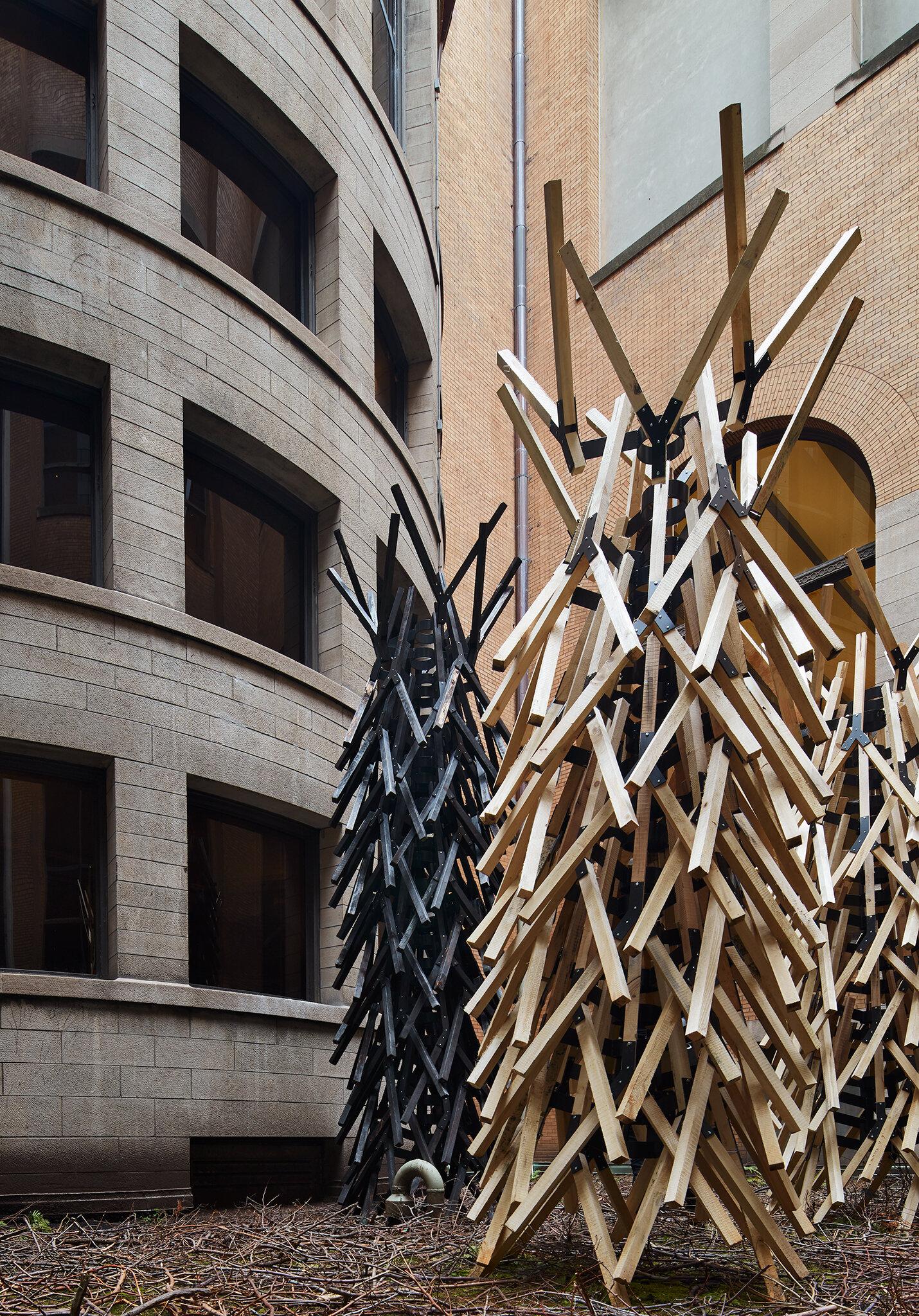 THREE TREES: Jackson, Obama, Washington, 2019. Walter J. Hood. Photo courtesy of Chicago Architecture Biennial / Kendall McCaugherty,