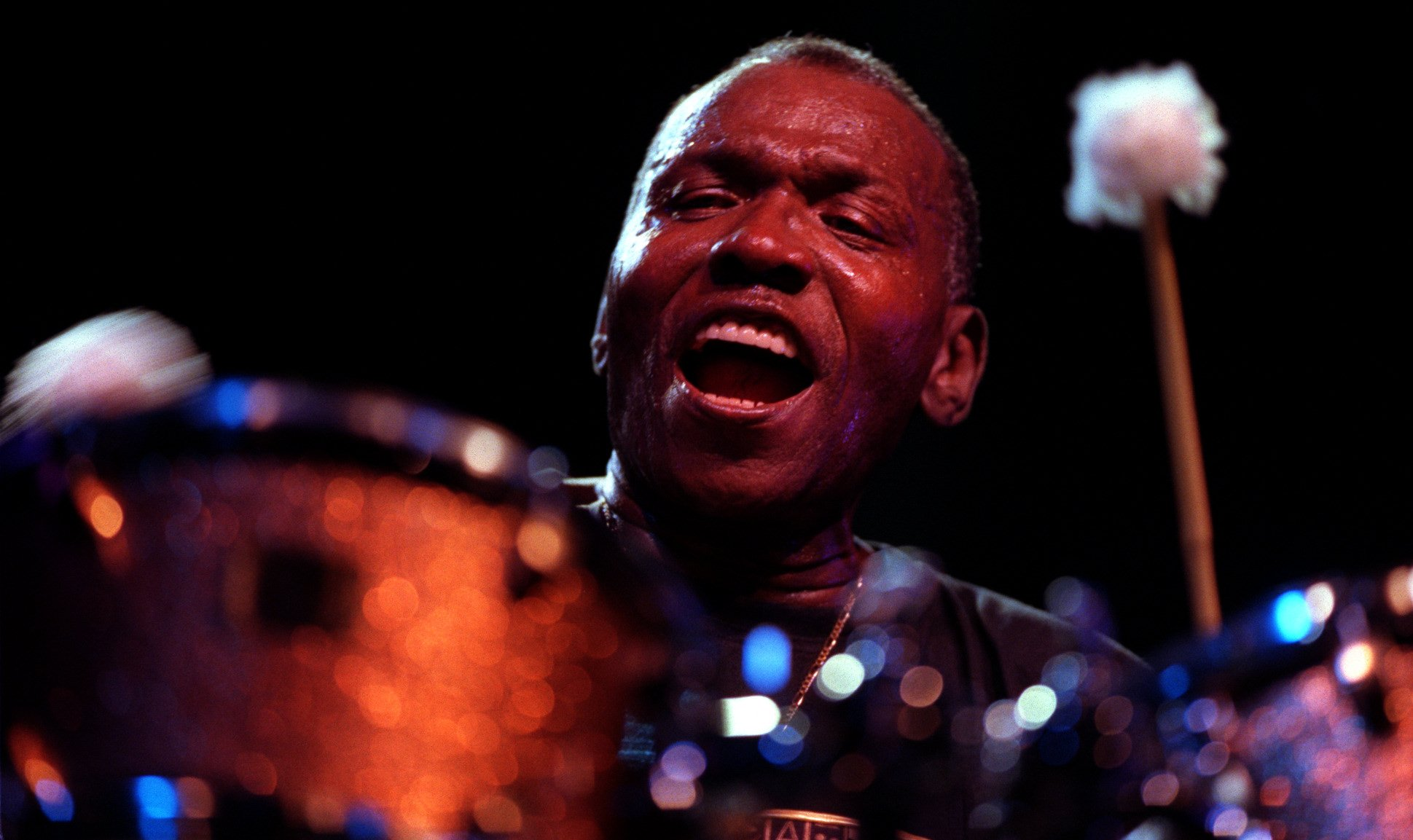 Elvin Jones at the Detroit Jazz Festival, 1999. Photo credit: Andrew Johnston/Detroit Free Press