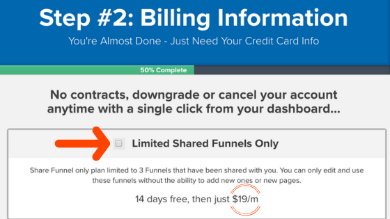 Limited share funnels only Clickfunnels pricing plan