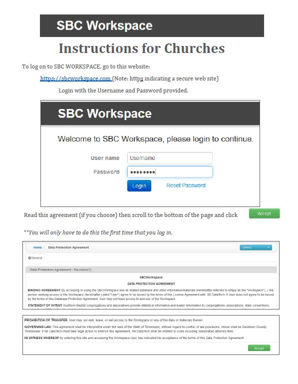 2019 ACP Portal - Click on the example page to the left to open the detailed document that will explain how to fill out your Annual Church Profile via the online portal for 2019.You can use the date of October 1, 2018 to September 30, 2019 for your statistical data.If you would like help with the portal, please feel free to call our office at 843-723-4571 We will be happy to help you!We thank you for taking the time to provide the state and our association with current data to help us know better how to serve your church and the ministry your do. Having current leadership information is also a huge help for improving the communication efforts of the CBA. We truly appreciate your time and hope this version of the ACP will be an improvement in both time and accuracy.