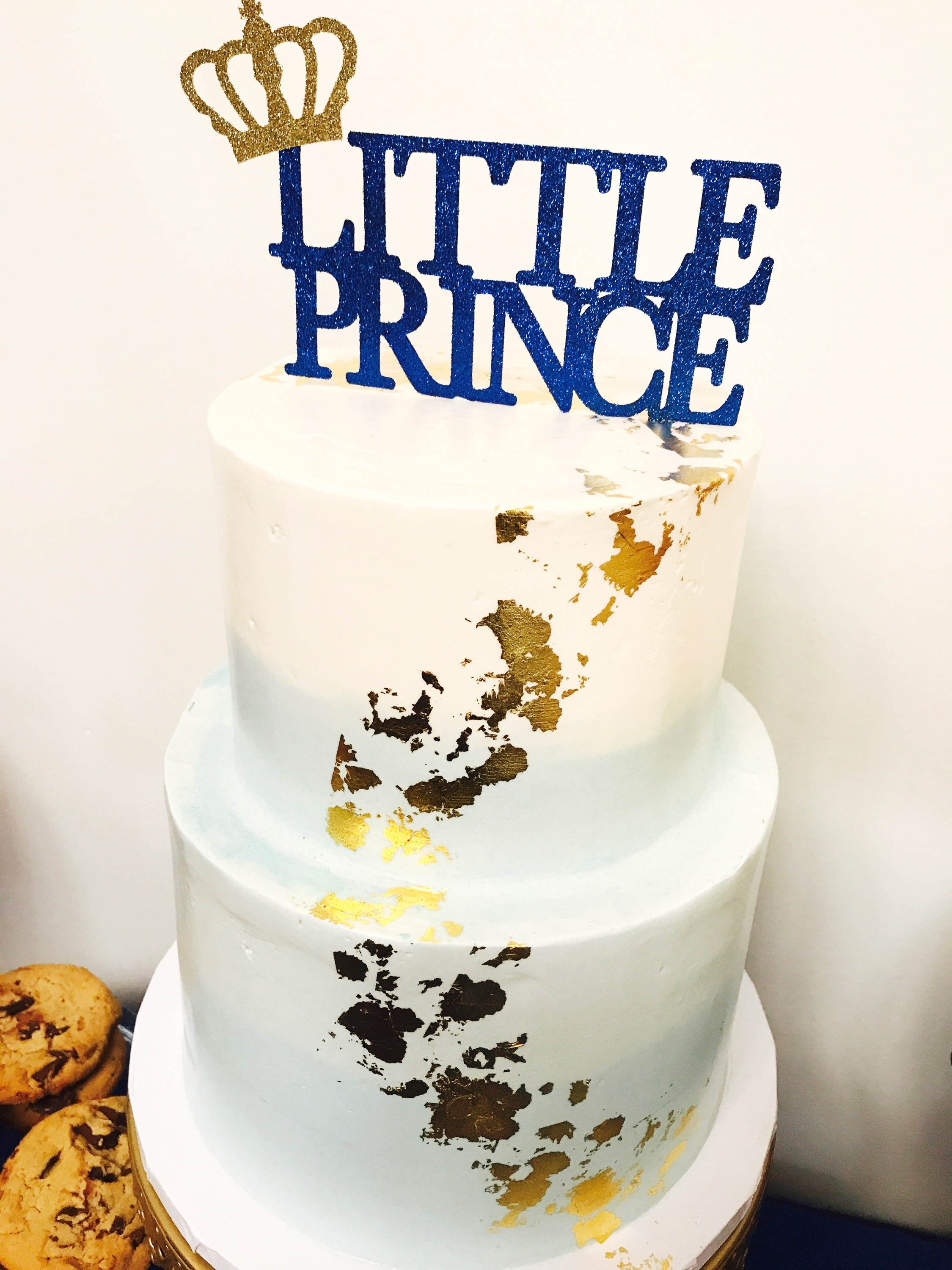 little prince ombre blue and gold baby shower cake
