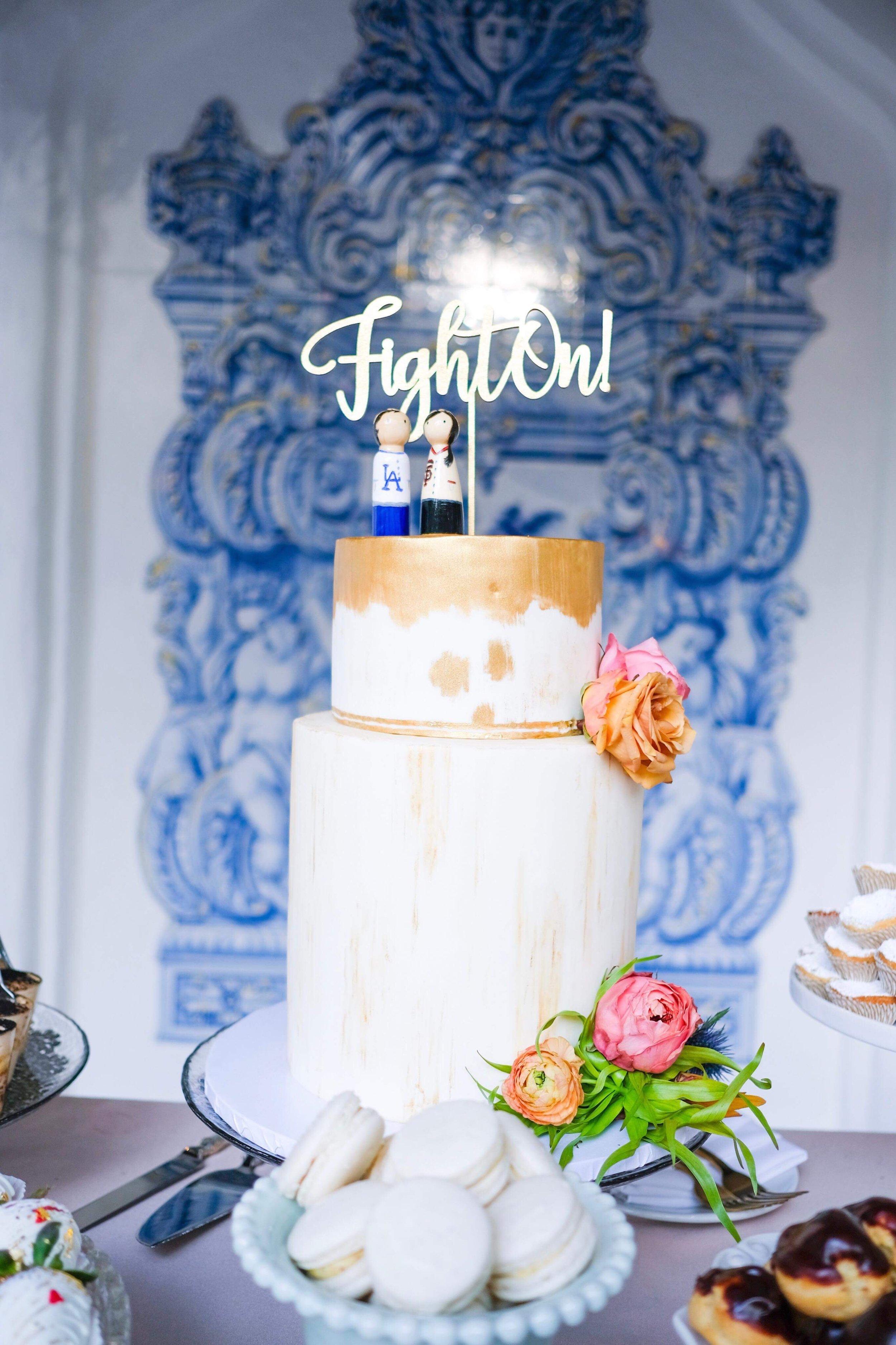 Gold fondant Fight On USC wedding cake, Rancho Las Lomas