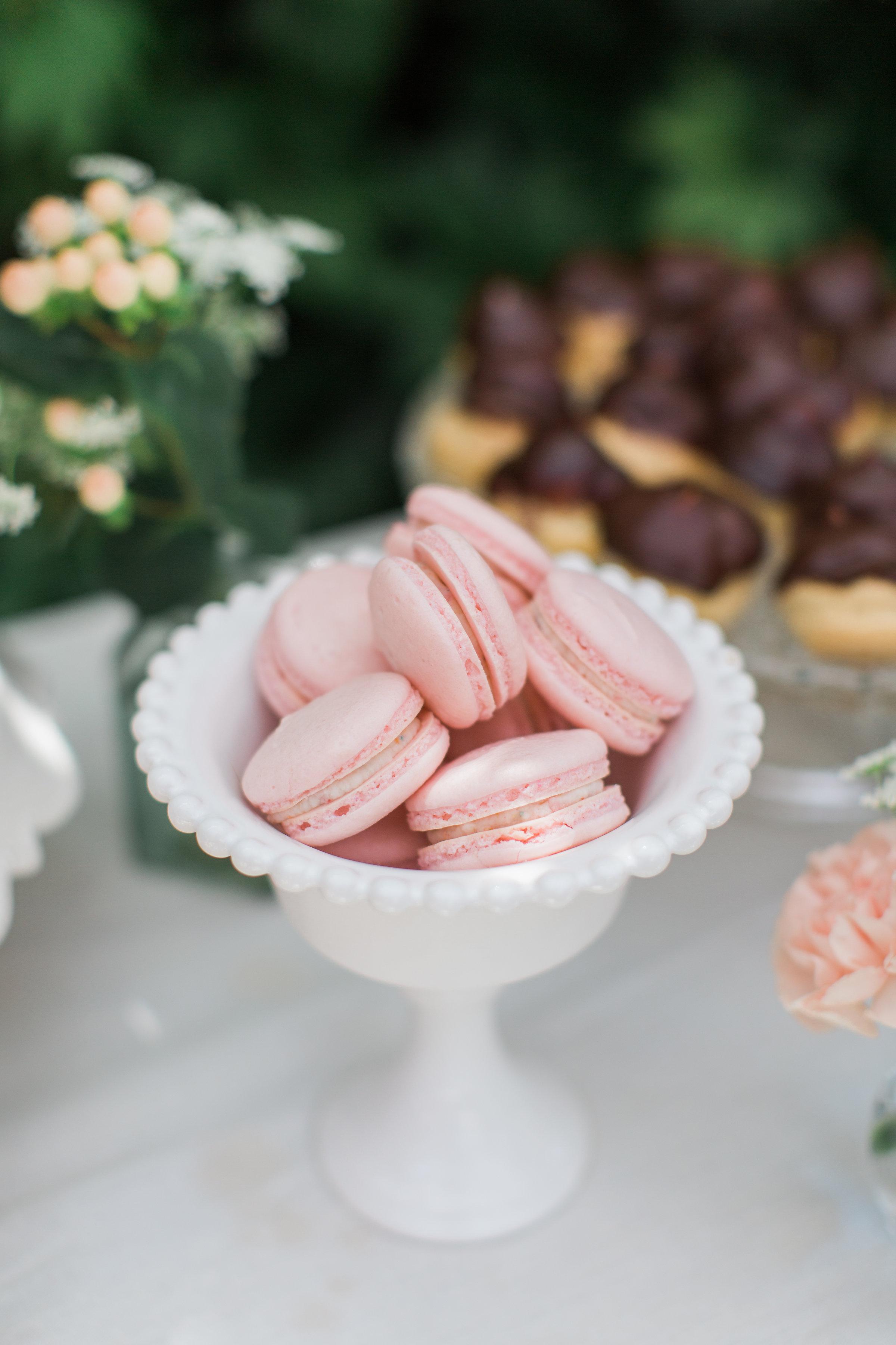 Pine & Sea Photography | vanilla confetti macarons, garden party bridal shower