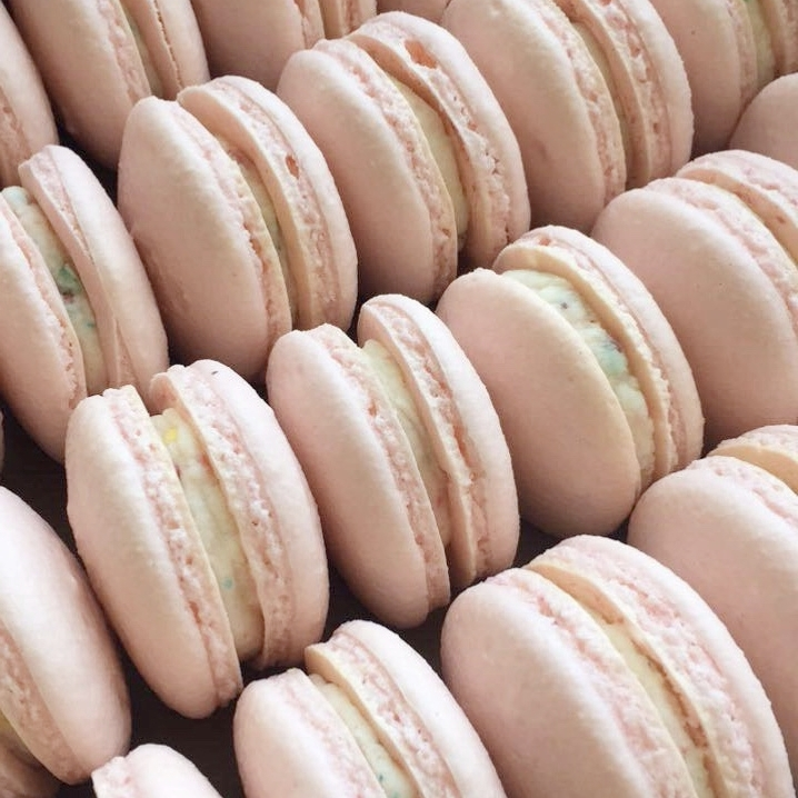 gluten free blush french macarons