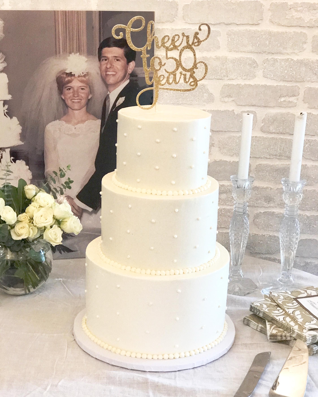 50th wedding anniversary cake, buttercream swiss dots cake, Palos Verdes Estates