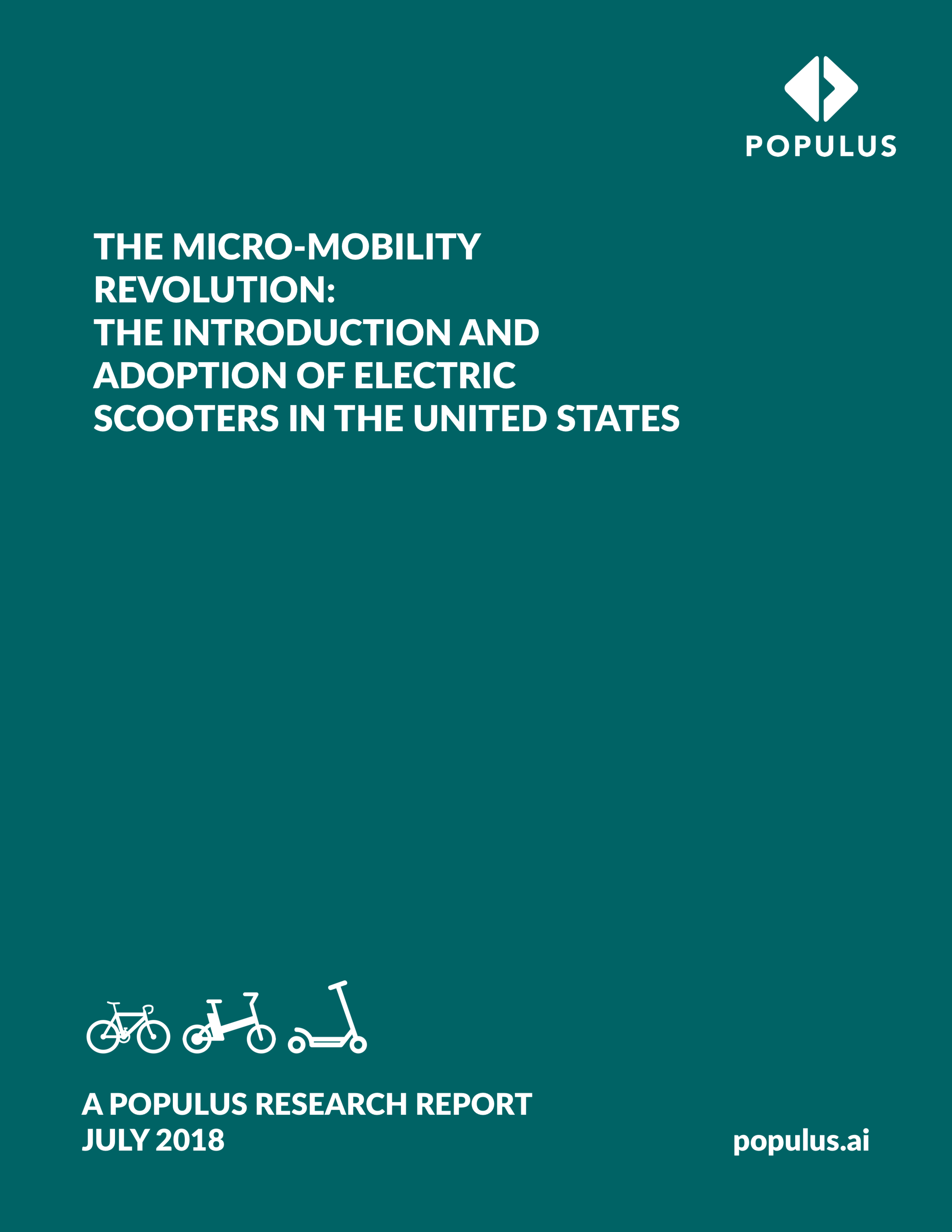 THE MICRO-MOBILITY REVOLUTION - The Populus 2018 study on micro-mobility presents new data and insights on the adoption, perceptions, and use of new services such as bikeshare, dockless bikeshare, and electric scooters based on primary data gathered through our platform May to July 2018. The study finds that a majority of people in U.S. cities have a strong positive view of these services, and a somewhat large portion of people have used them, despite their recent introduction to the mobility ecosystem.