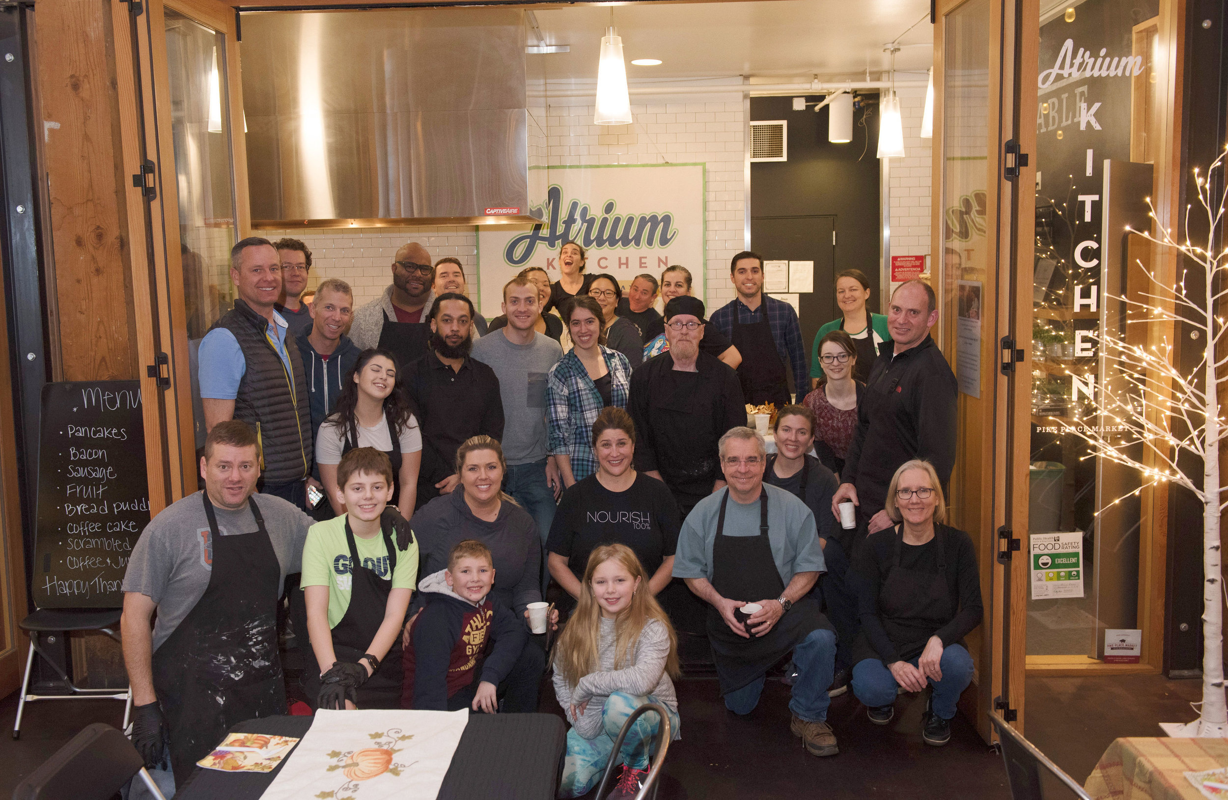 Over 30 volunteers arrived on Thanksgiving morning 2018 to serve nearly 250 guests who are either living homeless or are experiencing food insecurity.