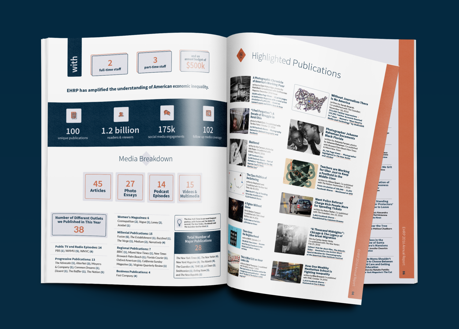 Infographic highlighting the company numbers at a glance (left) and top stories (right) · from the 2016 Annual Report