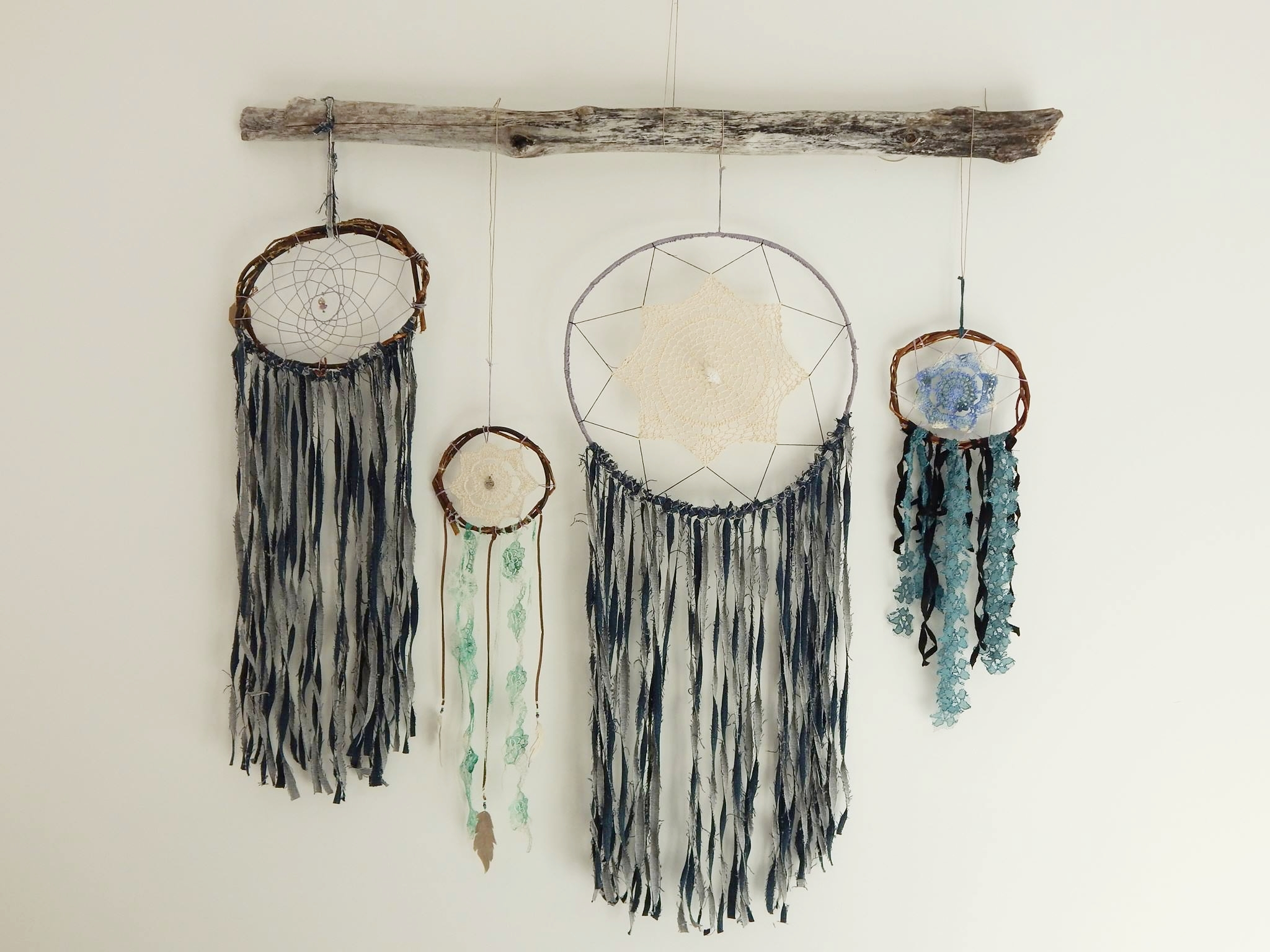 Dream catchers made by myself with upcycled materials