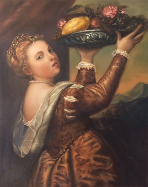 Girl with a basket of fruit