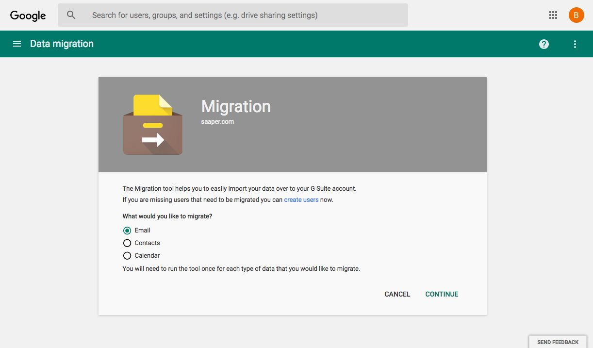 Google's Data Migration Service for G Suite (Great for small, simple data migration projects)