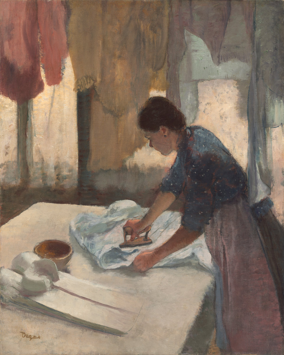 Edgar Degas,  Woman Ironing , begun c. 1876 completed c. 1887, oil on canvas, National Gallery of Art, Collection of Mr. and Mrs. Paul Mellon, 1972.74.1.