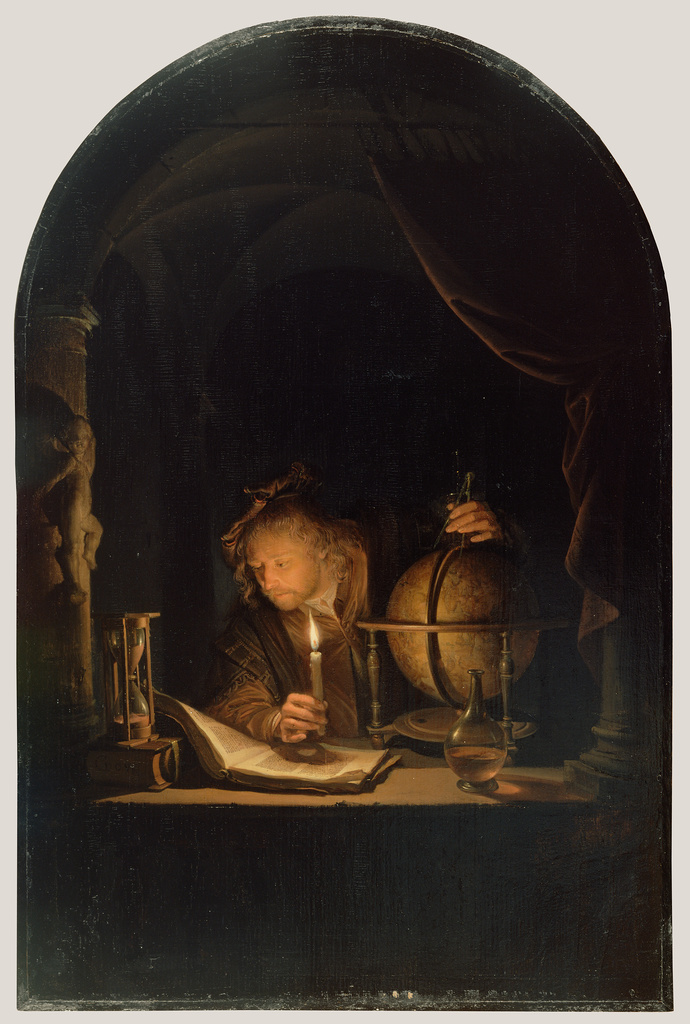 Gerrit Dou (Dutch, 1613 - 1675),  Astronomer by Candlelight , late 1650s, oil on panel, 32 × 21.2 cm (12 5/8 × 8 3/8 in.), The J. Paul Getty Museum, Los Angeles.