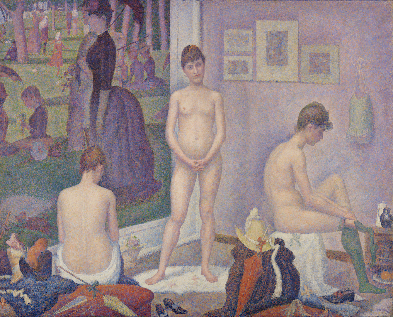 Georges Seurat,  Poseuses,  1886–1888, oil on canvas, 78 3/4 x 98 3/8 in. The Barnes Foundation, BF811.