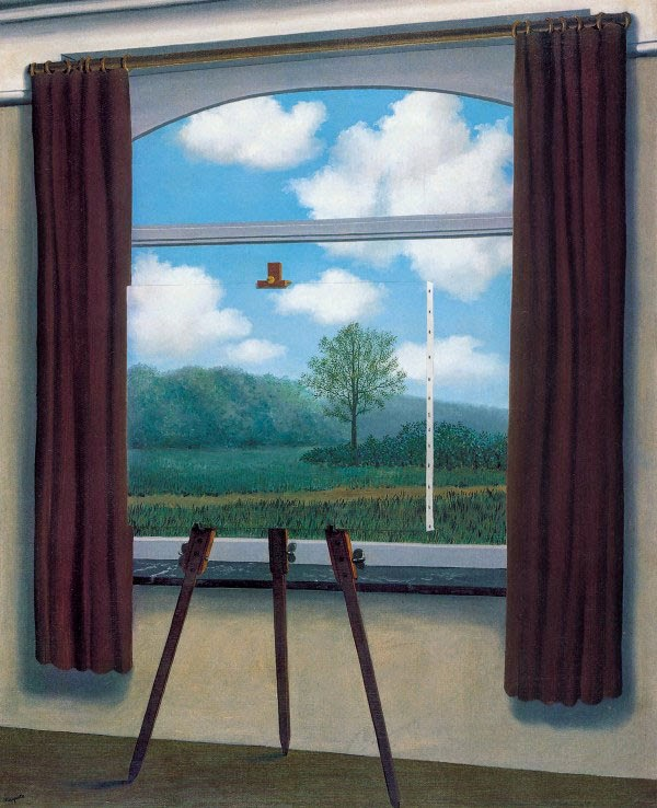 René Magritte,  La condition humaine,  1933, oil on canvas, 100 x 81 x 1.6 cm (39 3/8 x 31 7/8 x 5/8 in.), National Gallery of Art, Gift of the Collectors Committee, 1987.55.1.