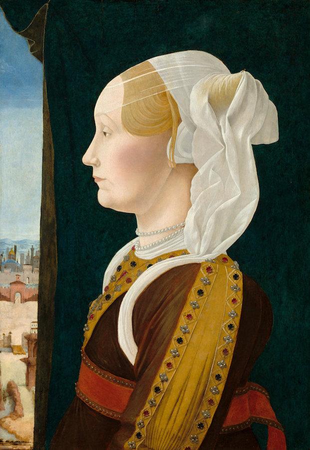 Ercole de' Roberti,  Ginevra Bentivoglio,  c. 1474/1477, tempera on poplar panel, 53.7 x 38.7 cm (21 1/8 x 15 1/4 in.), National Gallery of Art, Samuel H. Kress Collection, 1939.1.220.