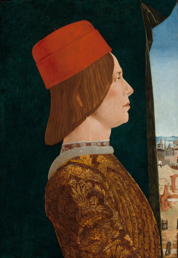 Ercole   de' Roberti,  Giovanni II Bentivoglio,  c. 1474/1477, tempera on poplar panel, Samuel H. Kress Collection 1939.1.219.