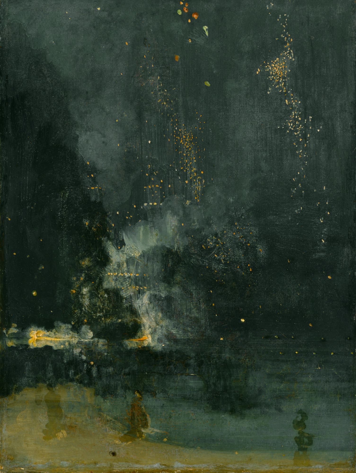 James Abbott McNeill Whistler,  Nocturne in Black and Gold, the Falling Rocket , 1875, oil on panel, Unframed: 23 3/4 × 18 3/8 inches (60.3 × 46.7 cm), Framed: 36 3/4 × 30 1/4 × 3 1/4 inches (93.3 × 76.8 × 8.3 cm), Detroit Institute of Arts, Gift of Dexter M. Ferry, Jr., 46.309.
