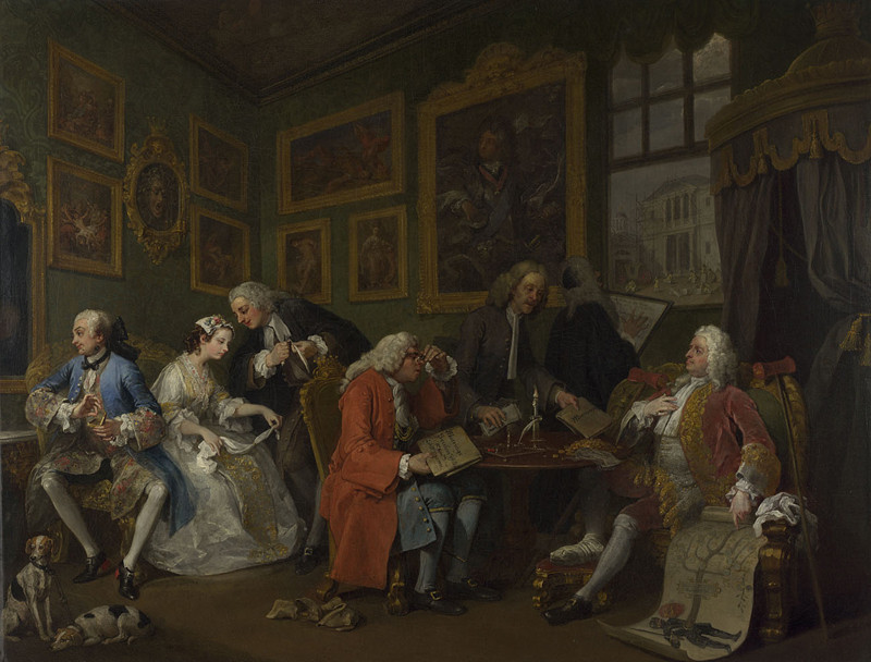 William Hogarth,  Marriage à la Mode  1,  The Marriage Settlement,  c. 1743, oil on canvas, 69.9 x 90.8 cm, The National Gallery, NG 113.