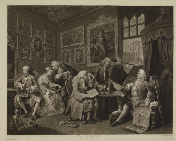 Richard Earlom after William Hogarth,  Marriage à la Mode  Plate 1,  The Marriage Settlement,  1795, mezzotint, 48.8 x 60.6 cm, The British Museum.