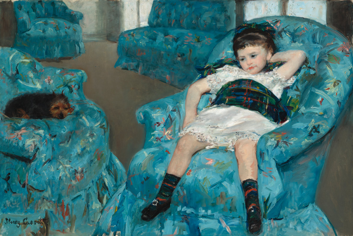 Mary Cassatt,  Little Girl in a Blue Armchair,  1878, oil on canvas, overall: 89.5 x 129.8 cm (35 1/4 x 51 1/8 in.), National Gallery of Art, Collection of Mr. and Mrs. Paul Mellon, 1983.1.18.