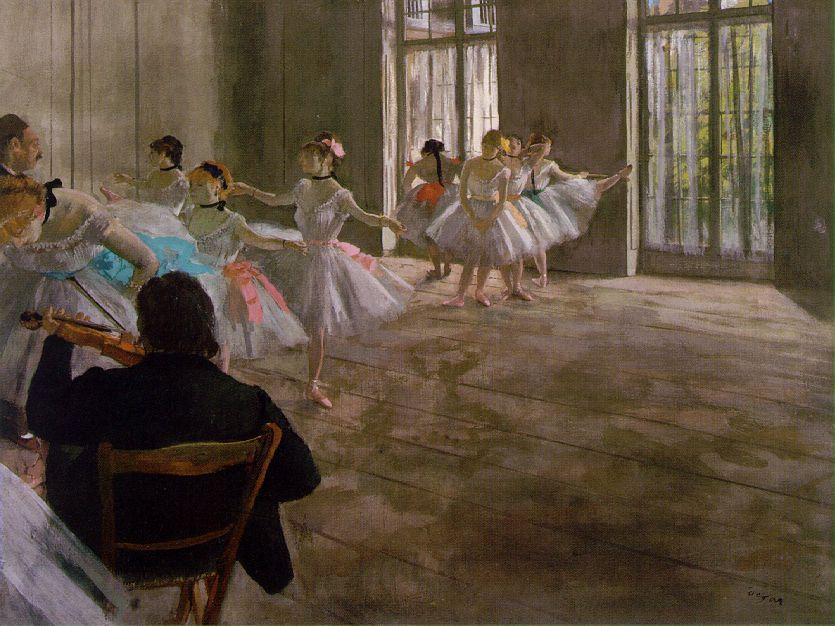 Edgar Degas,  Dance School,  c. 1876, oil on canvas, 43.8 cm x 58.4 cm, Shelburne Museum, 27.3.1-35a.