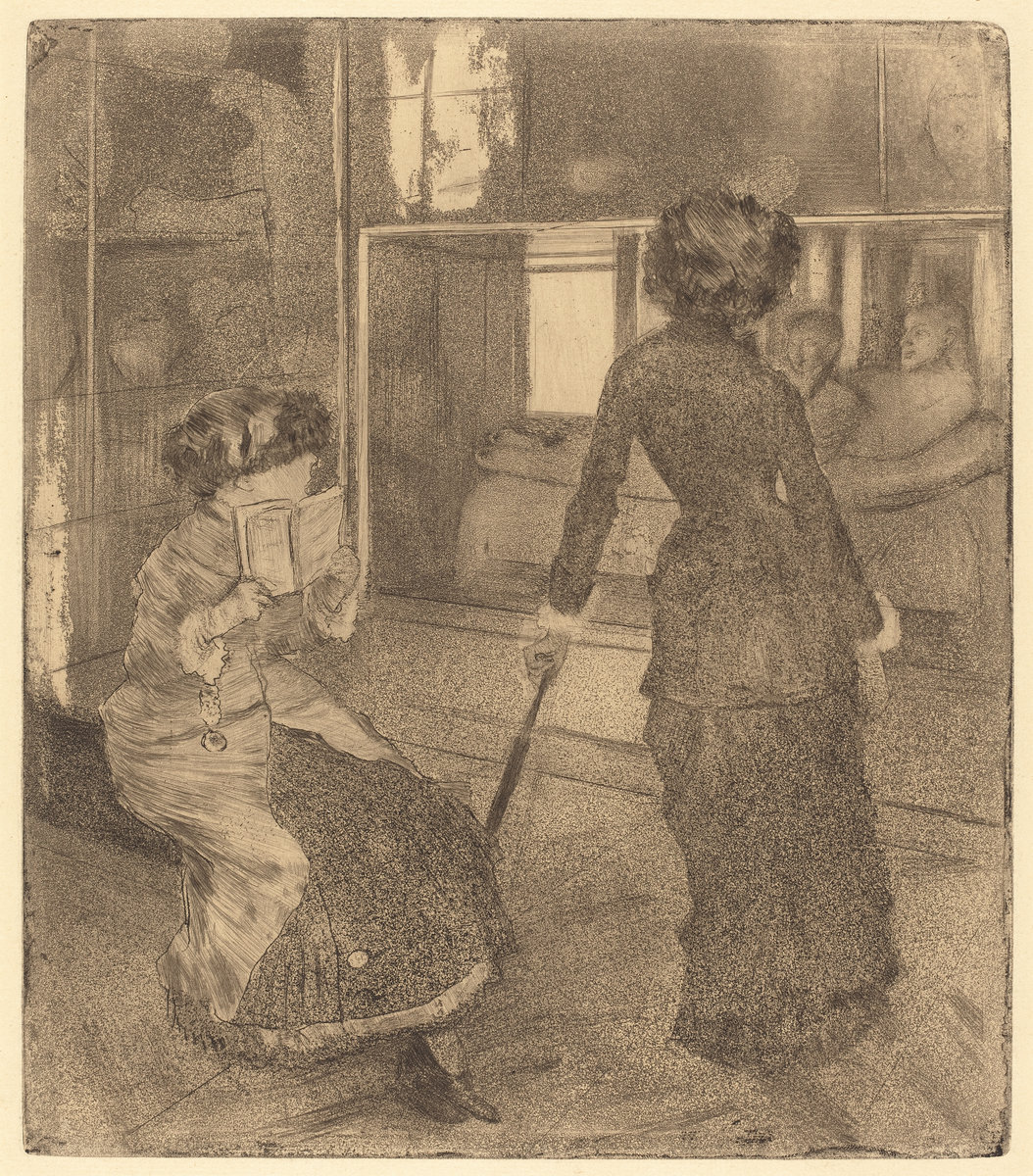 Edgar Degas,  Mary Cassatt at the Louvre: The Etruscan Gallery,  c. 1879/1880, etching, aquatint, and electric crayon, plate: 26.8 x 23.4 cm (10 9/16 x 9 3/16 in.) sheet: 41.5 x 30.6 cm (16 5/16 x 12 1/16 in.), National Gallery of Art, Rosenwald Collection, 1943.3.3366.