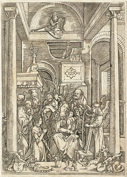 Marcantonio Raimondi After Albrecht Dürer,  The Glorification of the Virgin,  1514, engraving on paper, image: 11 5/8 x 8 5/16 in. (29.6 x 21.1 cm), The Clark Institute, William J. Collins Collection, 1958.94