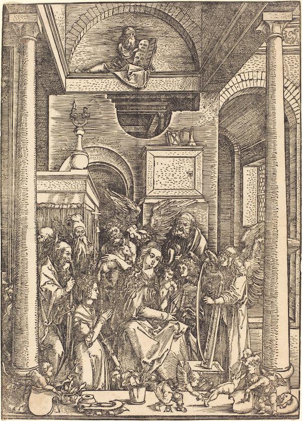 Albrecht Dürer,  The Glorification of the Virgin,  c. 1504, woodcut, National Gallery of Art, Rosenwald Collection, 1943.3.3593.