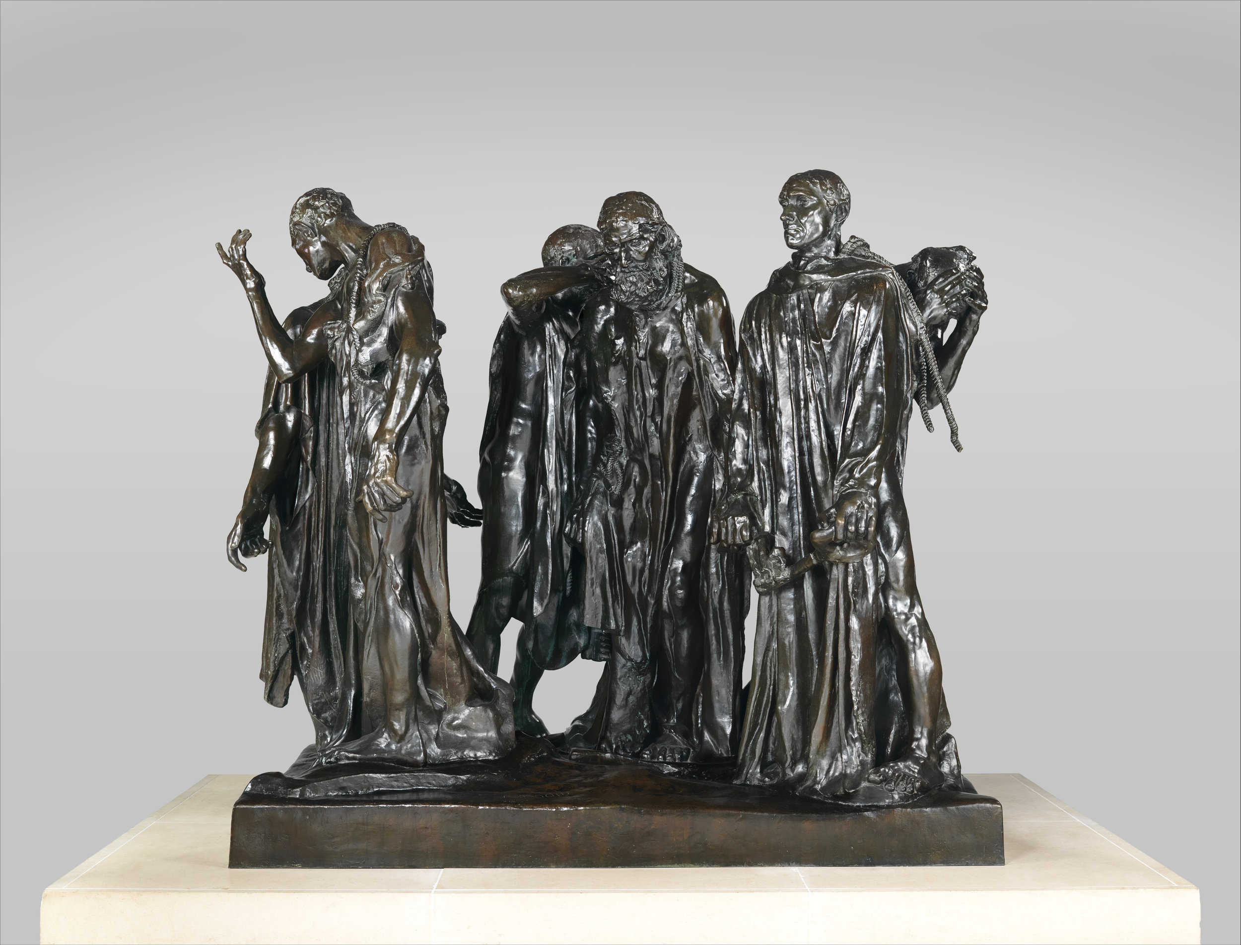 Auguste Rodin (Coubertin Foundry),  The Burghers of Calais,  modeled 1884-95, cast 1985, bronze, 82 1/2 × 94 × 95 in. (209.6 × 238.8 × 241.3 cm), The Metropolitan Museum of Art, Gift of Iris and B. Gerald Cantor, 1989, 1989.407.