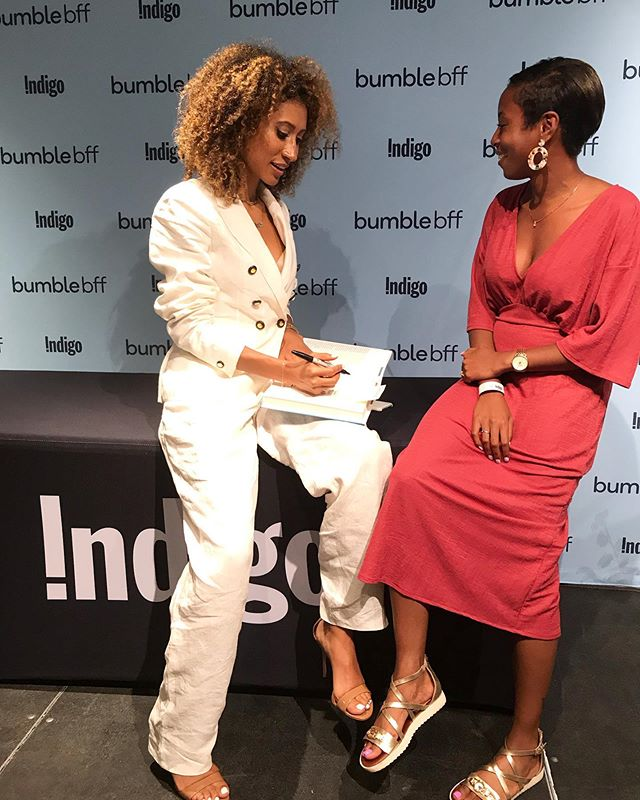 Nothing but pure admiration for @elainewelteroth. Honestly, I've followed her career for so long and I remember the day it was announced that she was becoming the first black EIC of Teen Vogue. It's incredible how you can feel so much happiness for someone you don't even know. Simply seeing yourself in them is enough. Representation is such a powerful thing.  Having now read her book #MoreThanEnough (and getting to meet her in person!), I feel even more connected to her and empowered to keep doing the work and telling my story.  Thank you Elaine for setting such an incredible example for women of colour and showing us that our stories matter and we have and will always be enough 💛 {Shoutout to @kathleennb who was the BEST moderator and to @chaptersindigo and @bumble_canada for organizing this event. Special thanks to my girl @moniquebryan_co for the photos!)