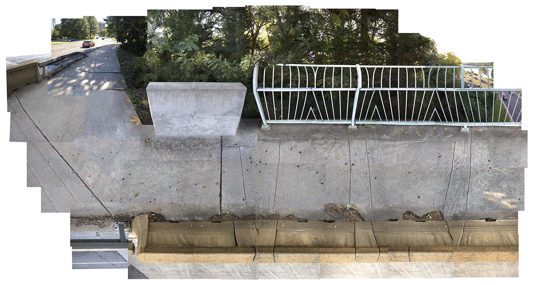 "Streams Key Bridge, Key Bridge , Arlington VA, composite panorama, archival digital print, 90x 200"""