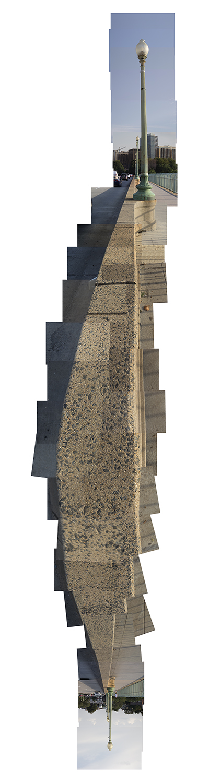 "Streams Key Bridge , vertical flipped panorama, 7-12-2012-02. Archival digital print, 90 x 24"""
