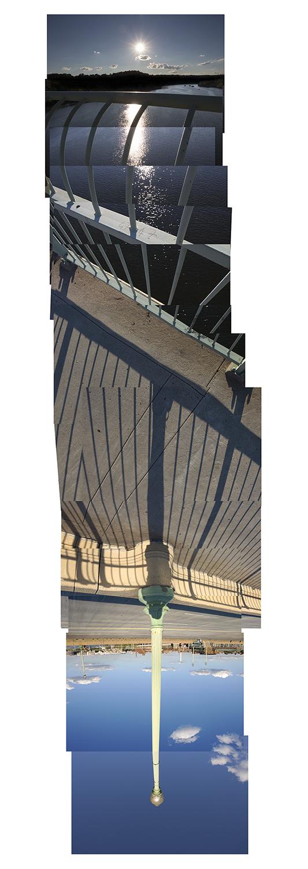 "Streams Key Bridge , vertical flipped panorama, 9-23-2012. Archival digital print, 90"" x 24"""